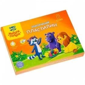"""Пластилин """"Приключения Енота"""" 8 цветов 160 г со стеком"""