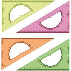 Треугольник 30°/16 см с транпортиром прозрачный флуоресцентный в ассортименте