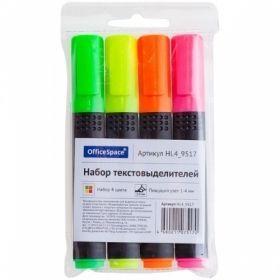 Набор текстовыделителей OfficeSpace 1-4 мм, 4 цвета