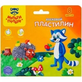 """Пластилин восковой """"Енот в лесу"""" 8 цветов 120 г"""