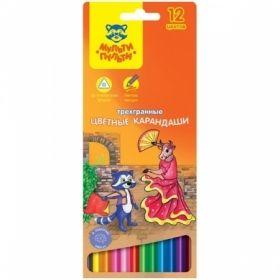 """Набор цветных карандашей """"Енот в Испании"""" 12 цветов, трехгранные заточенные"""