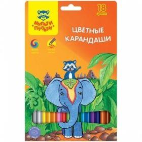 """Набор цветных карандашей """"Енот в Индии"""" 18 цветов, заточенные"""