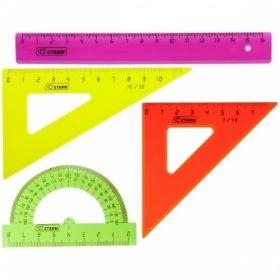 Набор чертежный малый (2 треугольника, линейка, транспортир)
