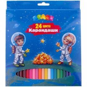 """Набор цветных карандашей """"Космонавты"""" 24 цвета, заточенные"""