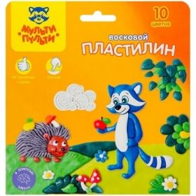 """Пластилин восковой """"Енот в лесу"""" 10 цветов 150 г, со стеком"""