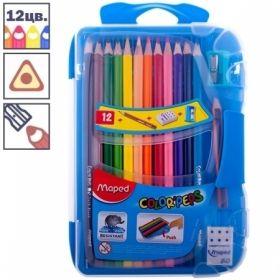 """Карандаши Maped """"Color Peps"""", 12 цветов + 1 чернографитный + точилка, трехгранные заточенные"""