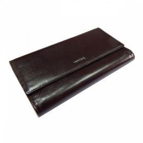 Визитница Protege Classique из натуральной кожи на 72 карточки, темно-коричневая, на 2 кнопках, с двумя карманами
