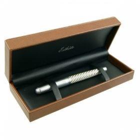 Роллер Protege серебристый с рельефной вставкой в подарочной коробке