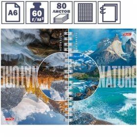 """Записная книжка двойная """"Nature"""" формата А6 на гребне, 80 листов"""