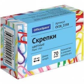 Скрепки цветные OfficeSpace 28 мм, 70 штук