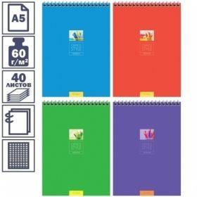 "Блокнот А5 ArtSpace ""Моноколор. Office style"" в клетку на гребне, 40 листов"