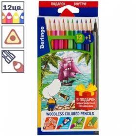 """Карандаши пластиковые Berlingo """"Корабли"""", 12 цветов+1 чернографитный HB, заточенные"""