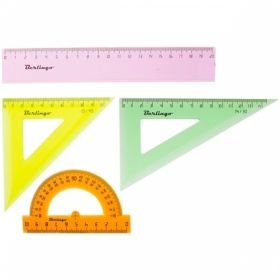 Набор чертежный средний Berlingo (2 треугольника, линейка, транспортир)
