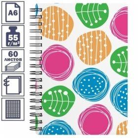 """Записная книжка А6 на гребне """"Buttons"""" в пластиковой обложке, 60 листов"""