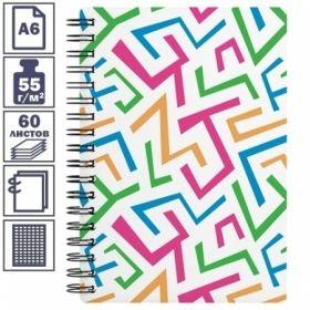 """Записная книжка А6 на гребне """"Lines"""" в пластиковой обложке, 60 листов"""