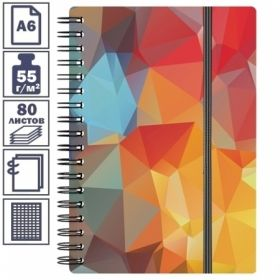 """Записная книжка А6 на гребне """"Dynamique"""" в пластиковой обложке, на резинке, 80 листов"""