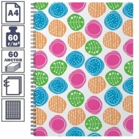 """Тетрадь А4 в клетку на гребне Erich Krause Buttons"""", пластиковая обложка, 60 листов"""""""
