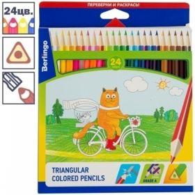 """Карандаши ArtSpace """"Жил-был кот"""" 24 цвета, трехгранные заточенные"""
