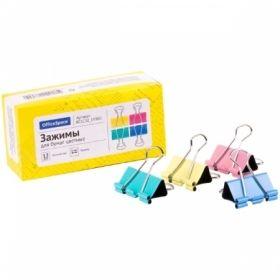 Зажимы для бумаг цветные OfficeSpace 12 шт, в ассортименте