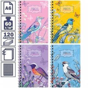 """Записная книжка А6 на гребне """"Цветы. Birds in flowers"""", 120 листов"""