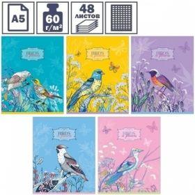 """Тетрадь А5 в клетку на скрепке ArtSpace Цветы. Birds in flowers"""", 48 листов"""""""