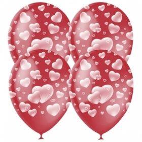 """Воздушные шары Поиск """"Cherry Red Сердца"""" М12/30см, пастель / растровый рисунок, 25 шт"""