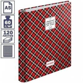 """Тетрадь А5 в клетку на кольцах ArtSpace Шотландка"""", 120 листов"""""""