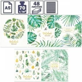 "Тетрадь А5 в клетку на скрепке Greenwich Line ""Palm leaves"", 48 листов"