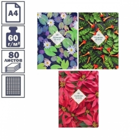 "Тетрадь А4 в клетку на скрепке ArtSpace ""Цветы. Leaves & Flowers"", 80 листов"