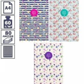 """Тетрадь А4 в клетку на скрепке ArtSpace """"Цветы. Стильные полосы"""", 80 листов"""