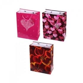 """Пакет подарочный ламинированный """"Сердечки"""", 3 дизайна"""