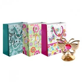 """Пакет подарочный ламинированный """"Цветы/Бабочки"""", размер М, в ассортименте"""