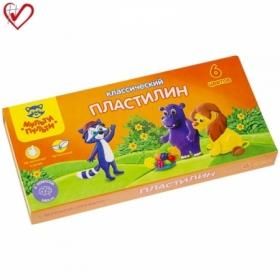 "Пластилин Мульти-Пульти ""Приключения Енота"", 6 цветов, 120 г, со стеком"