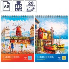 """Скетчбук-блокнот для акварели А5 ArtSpace """"Стиль. France"""", 20 листов, на гребне"""