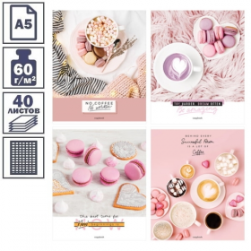 """Тетрадь А5 в клетку на скрепке ArtSpace """"Стиль. Coffee for dreams"""", 40 листов"""