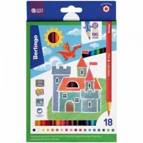 """Карандаши цветные Berlingo """"SuperSoft. Замки"""", 18 цветов, трехгранные заточенные"""