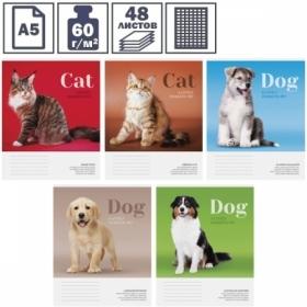 """Тетрадь А5 в клетку на скрепке ArtSpace """"Питомцы. Cat/Dog"""", 48 листов"""