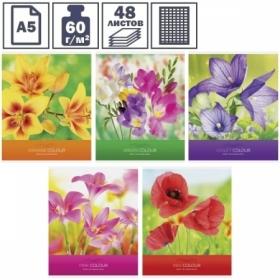 """Тетрадь А5 в клетку на скрепке ArtSpace """"Цветы. Яркие цветы"""", 48 листов"""