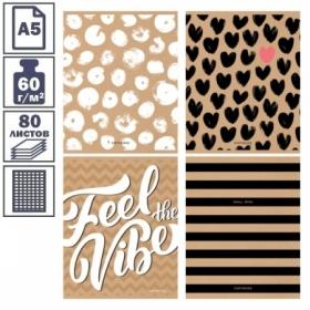 """Тетрадь А5 в клетку на скрепке ArtSpace """"Feel the kraft"""", 80 листов"""