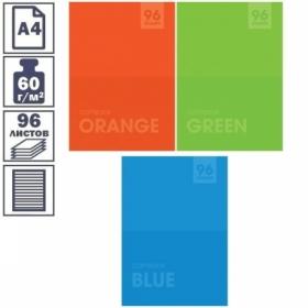 """Тетрадь А4 в линейку на скрепке ArtSpace """"Моноколор. Яркие цвета"""", 96 листов"""