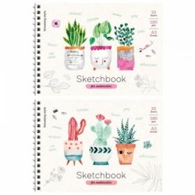 "Скетчбук-блокнот для акварели А5 ArtSpace ""Cute plants"" 20 листов, на гребне"