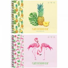 "Скетчбук-блокнот для акварели А5 ArtSpace ""Tropical style"" 20 листов, на гребне"