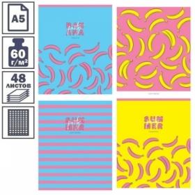 """Тетрадь А5 в клетку на скрепке ArtSpace """"Стиль. Banana party"""", 48 листов"""
