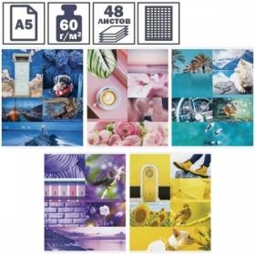 """Тетрадь А5 в клетку на скрепке ArtSpace """"Стиль. Colourful collage"""", 48 листов"""