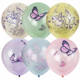 """Воздушные шары ПатиБум """"Кристалл Bubble. Бабочки"""" М12/30см, пастель+декоратор, 25 шт"""