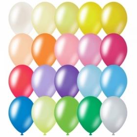 Воздушные шары MESHU М12/30см, металлик, 20 цветов, 100 шт