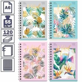 """Записная книжка А6 """"Tropical floral"""" на гребне, 120 листов"""