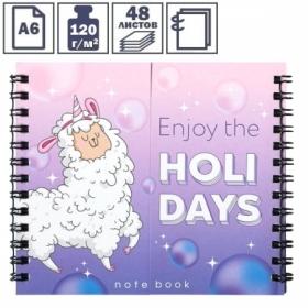 """Записная книжка А6 ArtFox """"Enjoy the Holidays"""" на гребне двойная, 48 листов"""