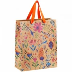 """Пакет подарочный MESHU """"Bright flowers"""" 26х32х12 см, крафт"""