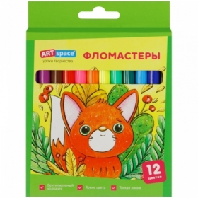 """Фломастеры смываемые ArtSpace """"Милые зверушки"""", 12 цветов"""